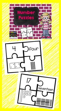 Use these Number Puzzles as a great center or for early finishers. Students can do this activity alone or with partners. You will need to cut apart the puzzles before handing them out to your students. Students will then try to put each puzzle together to match up each number correctly.   Each puzzle will include - the standard form, written form, pictorial representation with base-ten blocks, and tally marks. Numbers 1-20 are in this activity.
