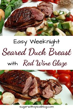 Crispy seared duck breast recipe with red wine sauce. Pan-seared duck is incredibly easy and fast, enough you could even make it on a weeknight! Grilling Recipes, Meat Recipes, Vegetarian Recipes, Chicken Recipes, Cooking Recipes, Recipies, Gourmet Dinner Recipes, Game Recipes, Vegetarian Dinners