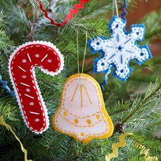 christbaumschmuck aus filz zuckerstange schneeflocke glocke