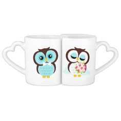 Bride and Groom Owls Wedding Personalized Lovers Mugs