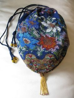 Antique Victorian Crochet Floral Cobalt Blue Drawstring Micro Bead Tassel Purse #Drawstring