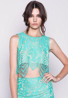 Mint Floral Eyelash Lace Crop Top