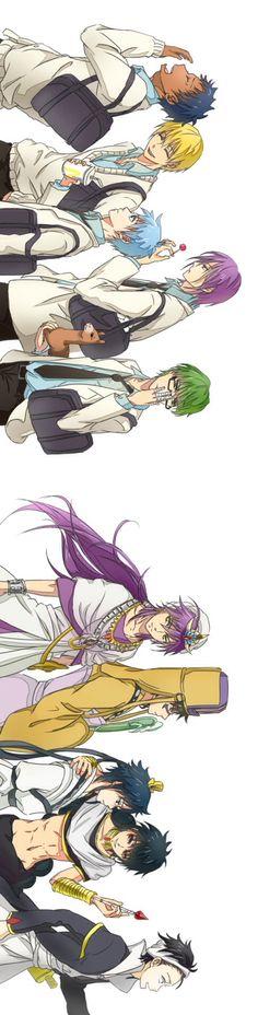 les personnages de kuroko no basket et de magi *^*