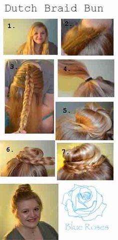 Dutch Braid Bun!   1. Start with tangle free hair.  2. Section off about a one inch section of hair at the nape of the neck.  3. Begin dutch braiding until you reach the crown of the head.  Continue  a regular braid all the way down to the ends and secure with a small elastic or bobby pin.  4. Gather the hair not in the braid into a high pony tail.  5. Twist the pony tail into a bun.  6. Wrap the braid around the bun.  7. Pin into place.