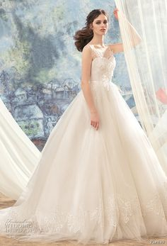 papilio 2017 bridal sleeveless thick strap sweetheart neckline heavily embellished bodice romantic princess ball gown wedding dress chapel train (hummingbird) mv -- Papilio 2017 Wedding Dresses