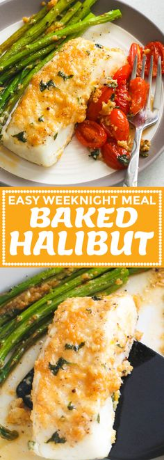 Baked Halibut Baked Halibut - light and healthy halibut fish fillet and vegetables rubbed with a slightly bright, tangy, cheesy, and a bit garlicky mixture. Guilt-free and delicious baked dinner ready in just 20 minutes from start to finish! Korma, Halibut Baked, Baked Halibut Recipes, Easy Halibut Recipe, How To Cook Halibut, Haddock Recipes, Fish Dinner, Keto Dinner, Easy Weeknight Meals