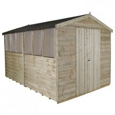 Forest Overlap Pressure Treated Double Door Apex Shed with Windows - 8ft x 12ft   Charlies Direct