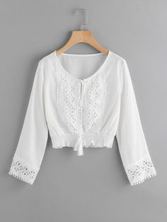 3bcdb67b71 Lace Panel Self Tie Shirred Hem Top -SheIn(Sheinside) White Tops