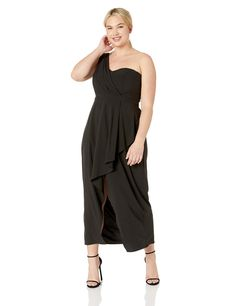 6b2c5cab41e City Chic Womens Apparel Womens Plus Size Formal Asymmetrical Maxi Dress  with Single Shoulder Black 14