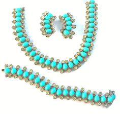 Vintage Turquoise Parure Set Kramer Necklace