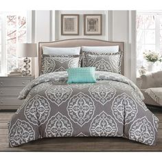 Chic Home Froilan 8 Piece Grey and Teal Medallion Print Reversible Duvet Cover and Sheet Set King Duvet Cover Sets, Duvet Sets, Duvet Covers, Palm Springs, Tahari Bedding, Bed In A Bag, Luxury Bedding Sets, Motif Floral, Queen Duvet