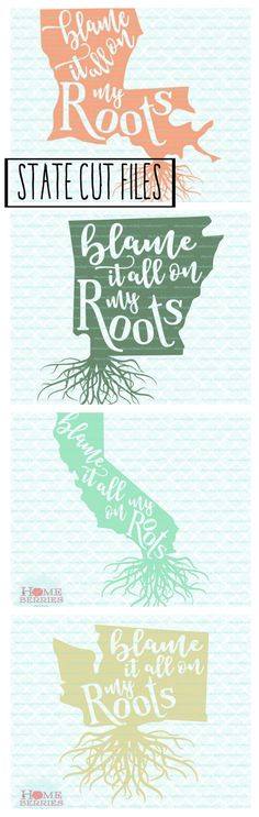Blame it on my roots state cutfile. SVG, EPS, JPEG,DXF. #DIY #cricut #silhouette #VINYLcrafts
