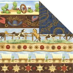 Western Scrapbook paper to hodge podge onto dresser drawers