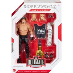 Mattel: WWE Ultimate Edition - Hollywood Hulk Hogan Wave 7 Action Figure Take your WWE collection to the next level with this WWE Ultimate Edition action figure featuring authentic ring gear and entrance attire. This Ultimate figure also includes over 30 points of articulation plus ab-crunch torso, double-jointed knees, and double-jointed elbows for authentic poses, incredible signature moves and the ultimate pose-and-play action! Figure also includes swappable parts, including heads, arms… Wwf Toys, Ab Crunch, Wwe Action Figures, Wwe Elite, Hulk Hogan, Birthday List, Collectible Figurines, Wwe Superstars, Waves