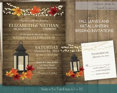 Fall Wedding Invitations with Fall Leaves | Rustic Metal Lantern Wedding Invitations with Dangling lights and fall colors - on wood grain
