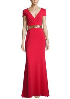 BADGLEY MISCHKA Red Cap Sleeve V Neck Gown