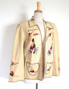 Vintage Coat // Cream Wool Mexican Tourist Jacket with Hand Embroidery // Rockabilly Style 1940s Outfits, Vintage Outfits, Cool Outfits, Vintage Fashion, 1940s Fashion, Vintage Clothing, Women's Fashion, Rockabilly Fashion, Rockabilly Style