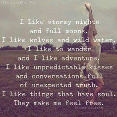 I like stormy nights and full moons. I like Wolfs and wild water. I like to wander and I like adventure. I like unpredictable kisses and conversations full of unexpected truth. I like things that have soul They make me feel free 💖 Words Quotes, Me Quotes, Motivational Quotes, Inspirational Quotes, Sayings, Great Quotes, Quotes To Live By, Encouragement, Word Porn