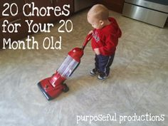 20 Chores for Your 20 Month Old! Teach your kiddos real life skills and make it fun... Plus, they always know that helping out is part of what we do in our house. #chores #toddler #kid #20months #startat10months #fun