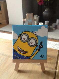 Minion painting paint painting, minion painting и mini canvas art. Disney Canvas Art, Kids Canvas Art, Small Canvas Paintings, Small Canvas Art, Cute Paintings, Mini Canvas, Canvas Canvas, Canvas Ideas, Painting Canvas