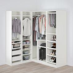 Ikea Pax Corner Wardrobe, Ikea Pax Closet, Corner Closet, Ikea Wardrobe Storage, Ikea Walk In Wardrobe, Bedroom Closet Design, Wardrobe Design, Closet Designs, Dressing Angle