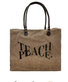 Teach Peace Recycled Military Tents Market Tote
