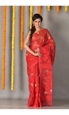 Red.JPG - Dhakai Jamdani Saree - Colors Of Bengal - adi3813 | Adimohinimohankanjilal
