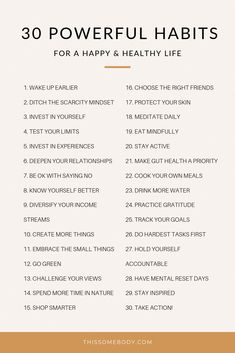 30 powerful habits for a happy, healthy life - Alles über Mundpflege 2020 Vie Motivation, Tuesday Motivation, Morning Motivation, Fitness Motivation, Motivational Quotes, Inspirational Quotes, Self Care Activities, Self Improvement Tips, Good Habits