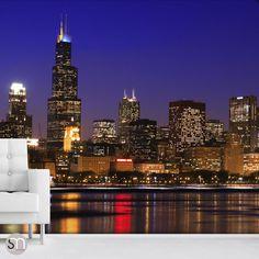 Large purple wall art panel set new york city bridge for Chicago skyline wall mural