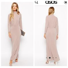 ASOS 70s Crepe Maxi Dress Plunge Front Rise Nude S Sold out! Gorgeous slinky sexy classy dusty rose maxi dress with long sleeves and keyhole front. Size small but stretches. Small very small mark on front right on hip area. ASOS Dresses Maxi
