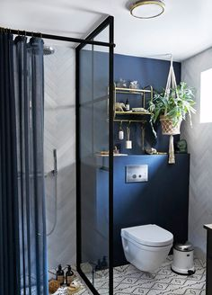 We hope that some small bathroom ideas above can bring you advantages. Actually, a tiny bathroom is okay as long as it can fill your need and you can decorate it beautifully. Bathroom Design Decor, Bathroom Interior Design, Interior, Bathroom Makeover, Shower Room, Blue Bathroom, Small Bathroom, Bathroom Renovations, Bathroom Decor