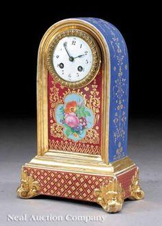 París porcelana dorada y policromada estante Reloj