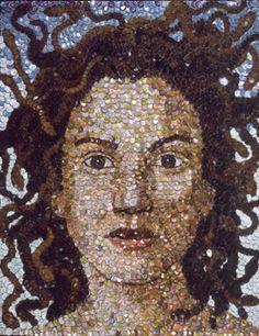 Medusa by Molly B. Right - plastic bottle cap art Plastic Bottle Caps, Bottle Cap Art, Bottle Cap Crafts, Bottle Top, Bottle Cap Images, Tapas, Green Craft, Unusual Art, Recycled Art