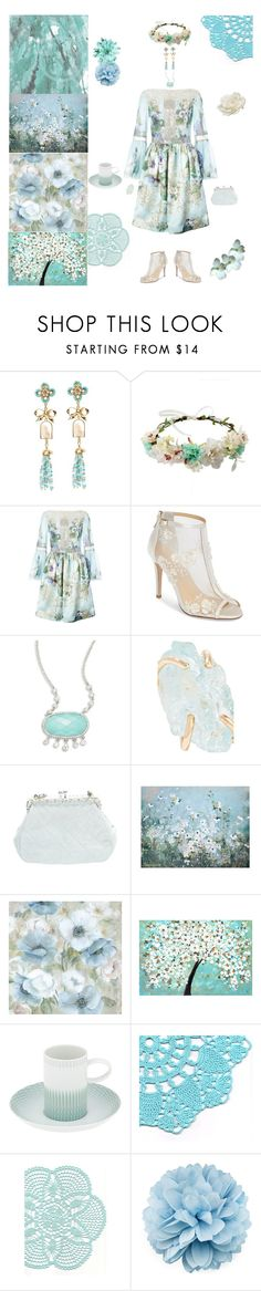 """Garden Party Art"" by blackmagicmomma ❤ liked on Polyvore featuring Marchesa, Bella Belle, Meira T, Melissa Joy Manning, Chanel, Vista Alegre, Gucci and Allstate Floral"