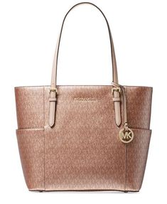 17e11fcbef5382 MICHAEL Michael kors Kors Metallic Signature Jet Set Travel Tote #fashion  #clothing #shoes
