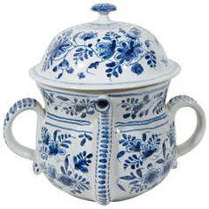 Blue and White Delft Possett Pot