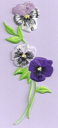 """Pansy Strip - Flower - Garden - 5 3/8""""H Embroidered Iron On Applique Patch #Unbranded"""