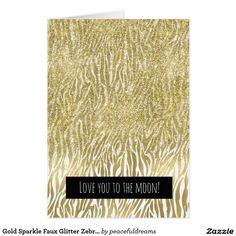 Gold Sparkle Faux Glitter Zebra Print Love Card