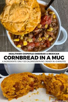 Upgrade your soup, chili, or side dish game with this lower calorie cornbread in a mug recipe which includes chipotle cheddar and Mexican style versions. Mexican Food Recipes, Real Food Recipes, Healthy Recipes, Ethnic Recipes, Healthy Meals, Easy Recipes, Healthy Eating, Yummy Food, Mug Recipes