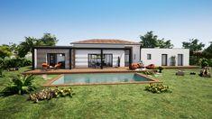 Village House Design, Bungalow House Design, Minimal House Design, Small House Design, House Layout Plans, House Layouts, Home Building Design, Home Design Plans, Contemporary House Plans
