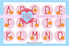 Autumn Pink Alphabet 1 Inch Bottle Cap Images - Digital Download - pinned by pin4etsy.com