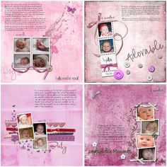 12 Premade Scrapbook Pages - Baby Girl - By Months - S4H. $25.00, via Etsy.
