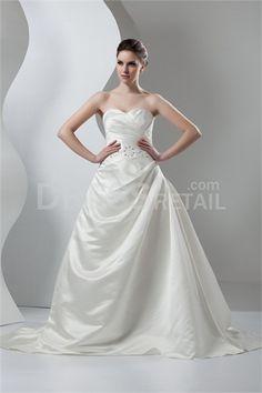 Ivory Church Sweetheart Court Train A-line Wedding Dress