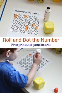 Roll n dot numbers http://mominspiredlife.com/preschool-math-game-roll-dot-number/