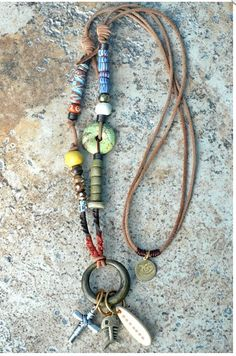 Rustic Brass Ring and Leather Mixed Media Charm Necklace