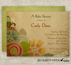 BABY SHOWER INVITATIONS Rustic Flower Bouquet Digital Printable Personal invitation- Etsy.