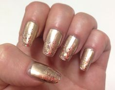 Gold nails with pink and gold glitter gradient
