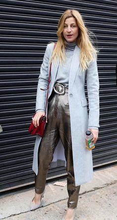 Ada Kokosar | Metallic Pants | Long Suit Jacket | Fashion Week