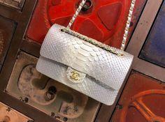 Chanel Spring New CF 25cm python skin veil matte silver Gold buckle