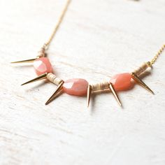 Gold Spiky Necklace With Peach Jade And Ivory Shell by kellyssima